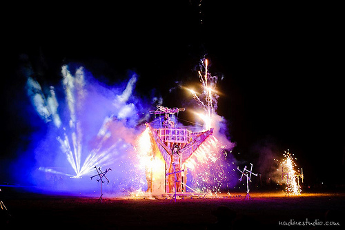 The 2012 Effigy explodes with fireworks on burn night.