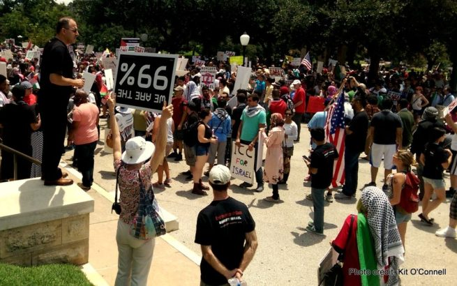 A huge crowd gathered at the Texas Capitol on August 4, 2014 to support an end to Israel's brutal assault on Gaza. (Kit O'Connell)