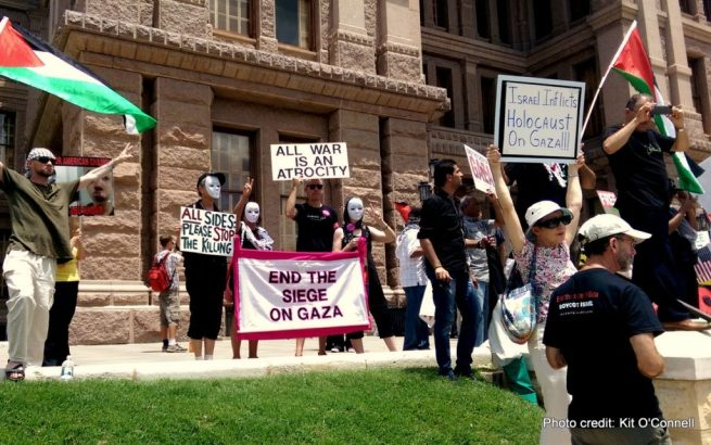 Activists, some wearing masks, hold protest signs supporting Palestinian liberation during an Aug. 4, 2014 rally at the Texas Capitol. (Kit O'Connell)