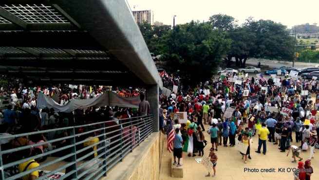 Hundreds gathered on Aug. 4, 2014 at Austin City Hall in downtown Austin, Texas after a rally to demand an end to Israel's assault on Gaza. (Kit O'Connell)
