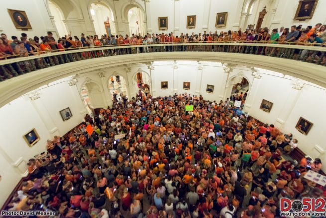 Thousands gathered in the Texas Capitol rotunda to protest a proposed law to add devastating new restrictions on abortion access in the state. (Flickr / Do512 / David Weaver)