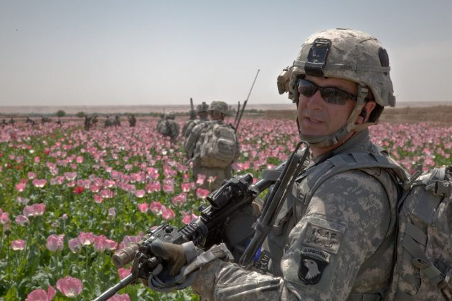 U.S. Army Sfc. Scott Kehn of Alpha Company, 2nd Battalion, 502nd Infantry Regiment, 101st Parachute Infantry Division, conducts a patrol through poppy fields near Nalghan, Afghanistan, April 21, 2011. (Flickr / U.S. Army /Pfc. Justin A. Young)