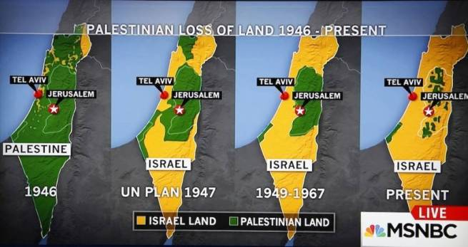 A map showing Palestine's disappearing territory since the beginning of Israeli occupation. (MSNBC screenshot)