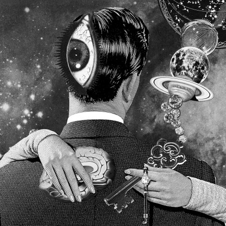 """Ascension"" - Psychedelic art by Eugenia Loli. A figure made from planets embraces a masculine figure in a suit with an eye on the back of his head. (Flickr / Eugenia Loli)"
