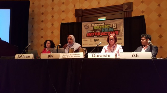 "Fatemeh Fakhraie, Eman H Aly, Amanda Quraishi and Wajahat Ali discuss ""American Muslim Media"" at SXSW 2016 in this March 13, 2016 photograph. (Kit O'Connell)"
