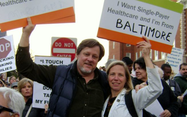 Kevin Zeese and Margaret Flowers at a single payer health care rally in Annapolis, MD. (Photo: popularresistance.org)