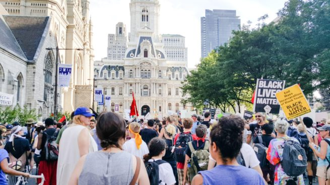 In this July 26, 2016 photograph, a march for black lives (and against the Democratic National Convention), organized by Philly Coalition for REAL Justice, marches through the streets to Philadelphia City Hall. (Kit O'Connell)