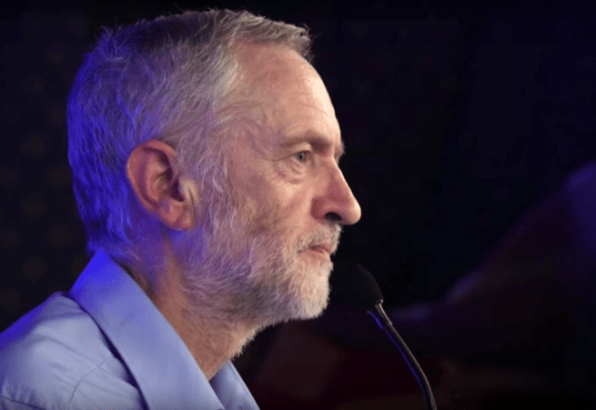 Jeremy Corbyn speaking at a political rally at Liverpool Adelphi Hotel banquet room on August 1, 2015. (Wikimedia Commons / YouTube / exadverso)