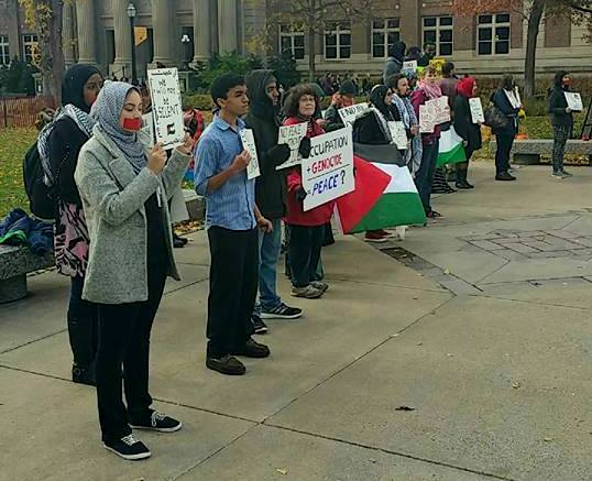 The Minnesota chapter of Students for Justice in Palestine demonstrates on the University of Minnesota campus. (Photo: SJP MN Facebook).