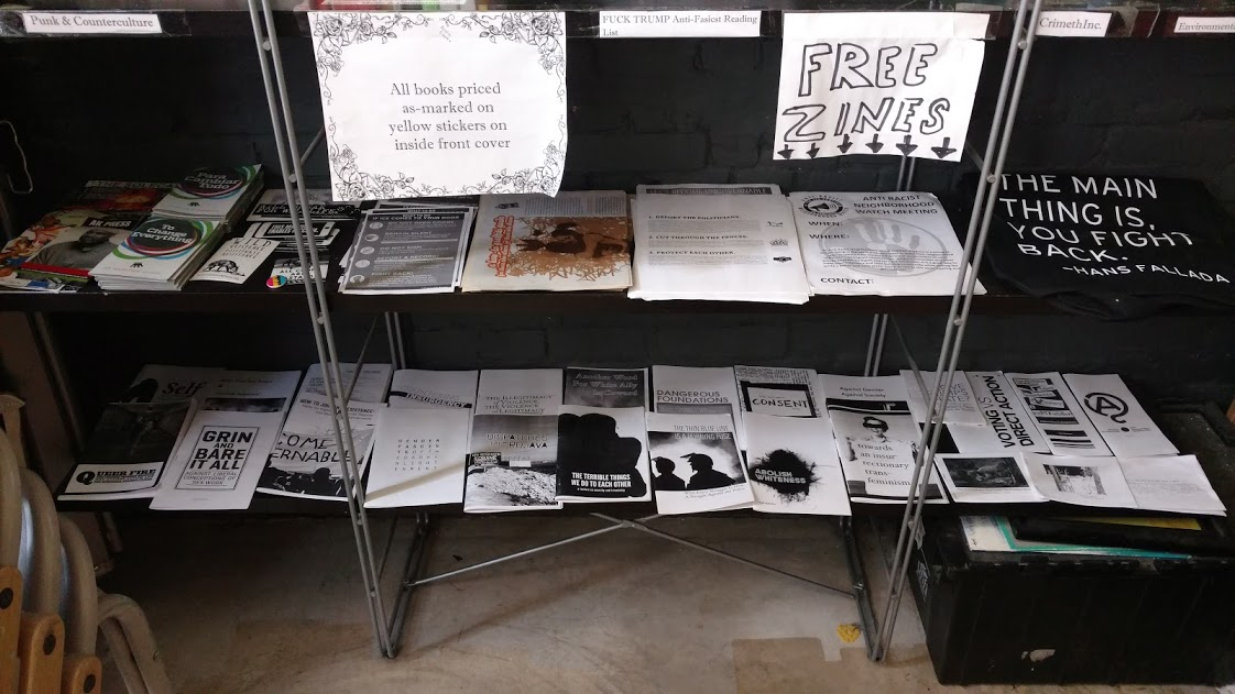 The Black Rose Book Distro zine collection at one of their three locations