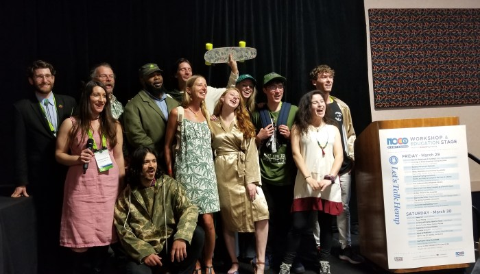 Hemp fashion on display at the NoCo Hemp Expo 2019 fashion show, ranging from a tailored hemp suit to hemp hoodies, Hawaiian shirts and t-shirts.