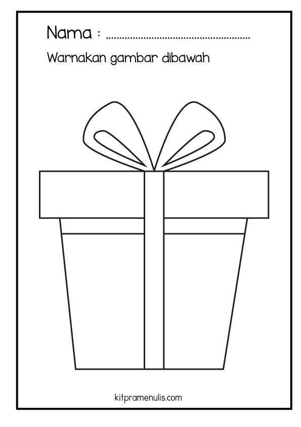 11-1 Lembaran Kerja KitPraMenulis Psikomotor Halus | Surih Dan Mewarna Kotak Hadiah