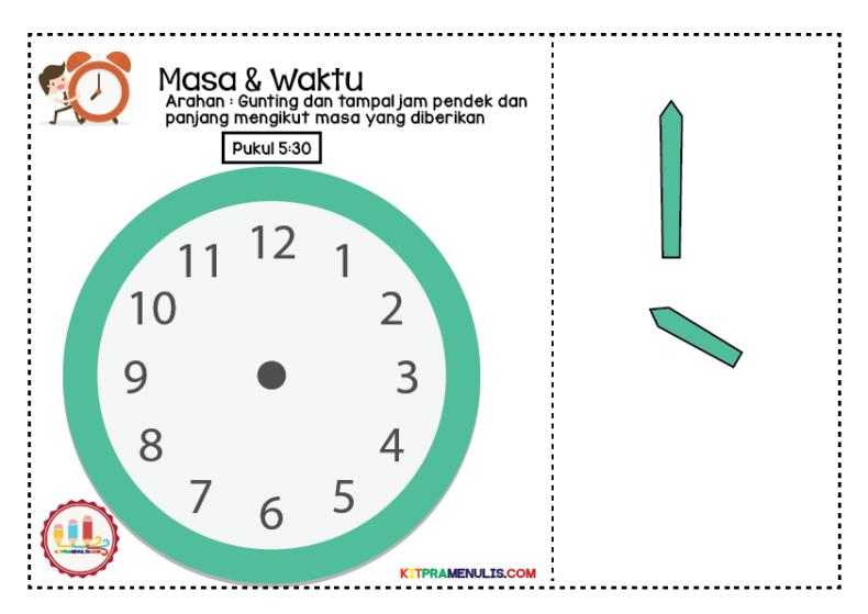 lembaran-kerja-pendidikan-khas-jam-01 Lembaran Kerja Masa Dan Waktu   Tampal Jarum Jam 5:00 Hingga 5:55