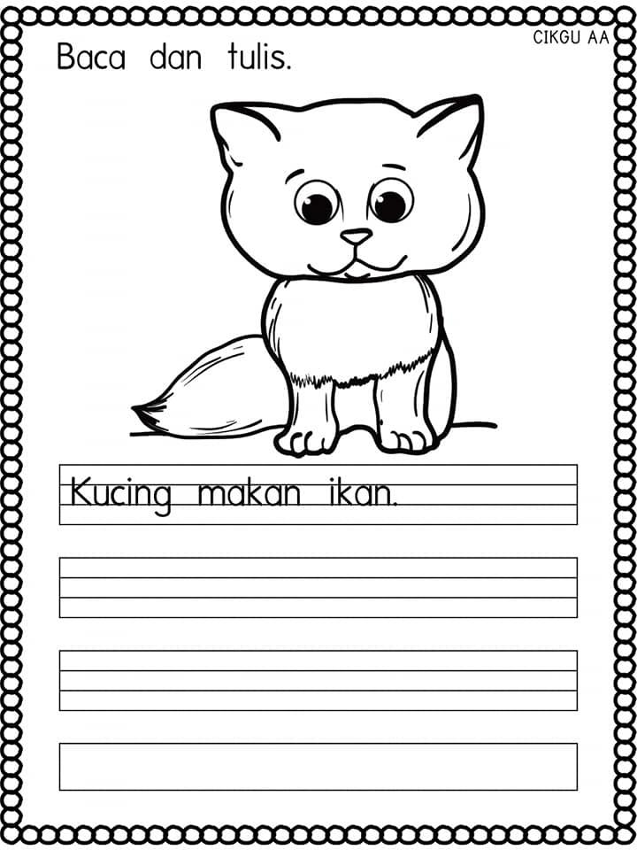 lembaran-kerja-prasekolah-1 Lembaran Kerja Prasekolah Bahasa Melayu Menulis Ayat Mudah