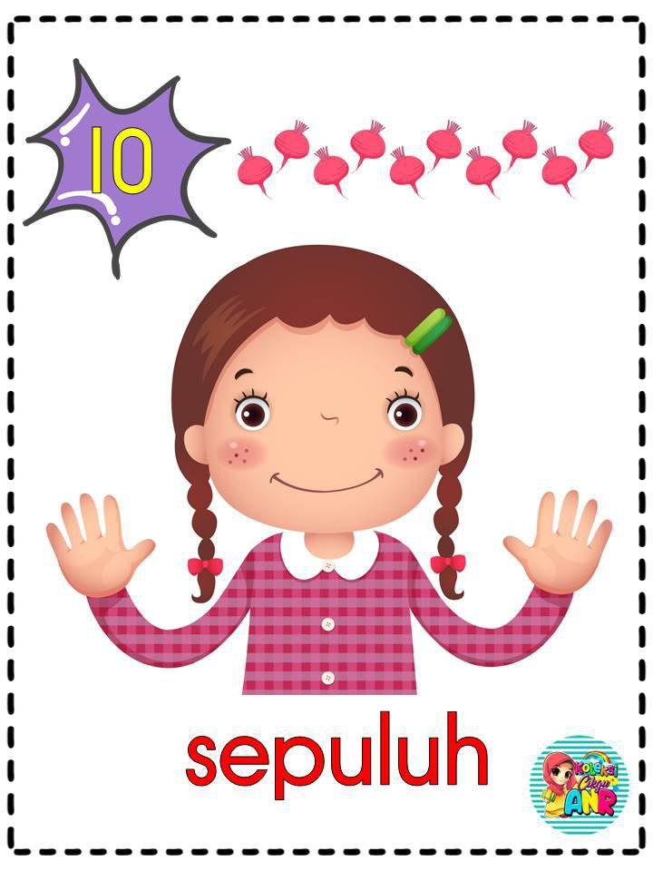 kad-nombor-1-hingga-10-tema-budak-comel Kad Nombor 1 Hingga 10 Untuk Kanak-Kanak 5 Tahun
