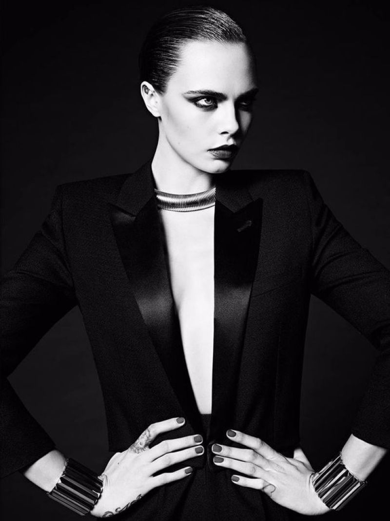 Hedi-Slimane-Put-Cara-Delevingne-in-His-80s-Inspired-Couture-Ads-for-Saint-Laurent-Le-Smoking-2016