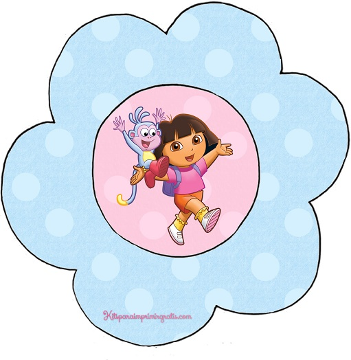Adorno flor, topper, o stickers para golosinas de Dora la Exploradora
