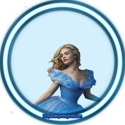 Topper o etiqueta redonda de Cinderella 2015