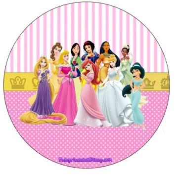Etiqueta redonda o topper de Princesas Disney