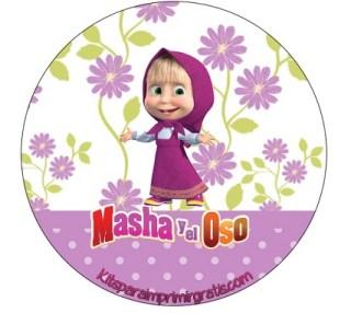 Etiquetas Masha y Oso - Stickers Masha y Oso - Fiesta Masha y Oso