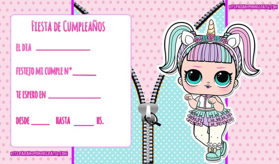 invitaciones lol surprise unicornio