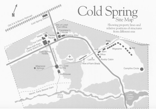 A site map showing locations of the Cold Spring Hotel & Resort ruins. Credit Lebanon County Historical Society
