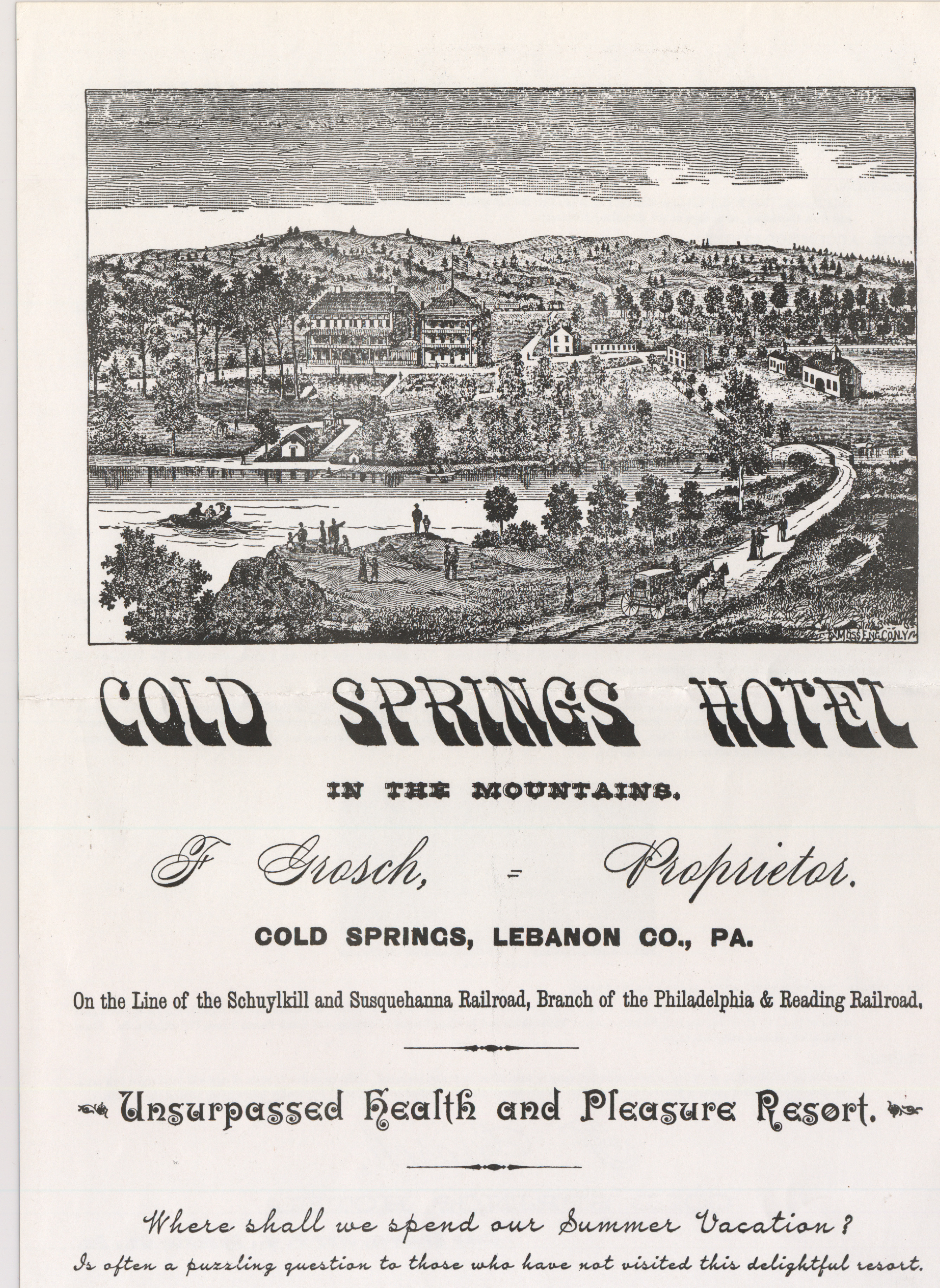 An advertisement for the Cold Springs Hotel & Resort, which was located north of Swatara State Park in Lebanon County. Credit Lebanon County Historical Society
