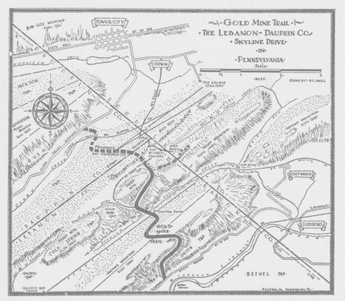 A historic map depicting the Gold Mine Trail, currently known as Gold Mine Road. Credit Lebanon County Historical Society