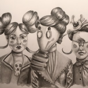 Three muses, grafit, A4