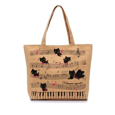 Canvas Musical Cats Tote Bag