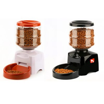 Automatic Pet Feeder with Voice Message Recording and LCD Screen Food Bowl Dispenser