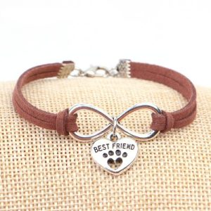 Pets Paw Best Friend Charms Pendant Leather Infinity Bracelet