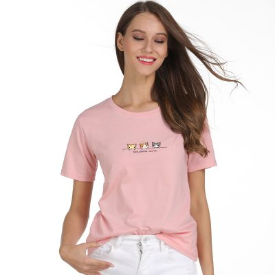 Casual Female Basic T-shirt Funny Cat Tops