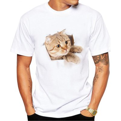 Cat Print O-Neck Short Sleeve T-Shirt Men
