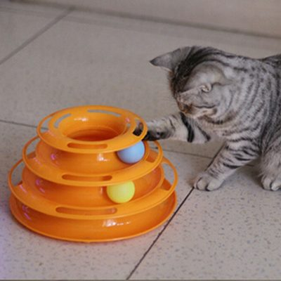 Tower of Tracks Ball and Track Interactive Toy for Cats