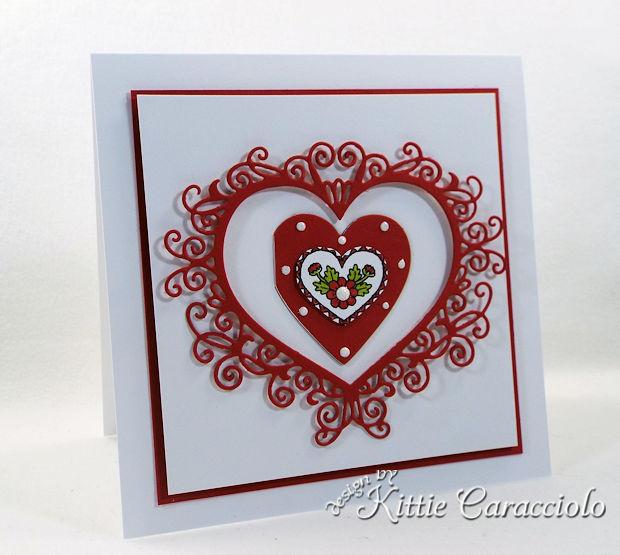 Handmade Die Cut Flourish Heart Valentine Card