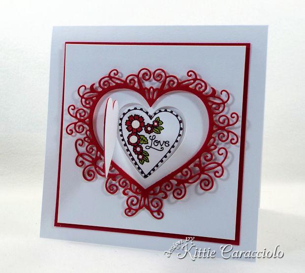 It's so fun to make a Handmade Die Cut Flourish Heart Valentine Card