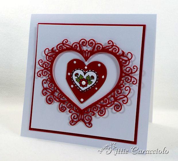 Making a Handmade Die Cut Flourish Heart Valentine Card is so fun and easy