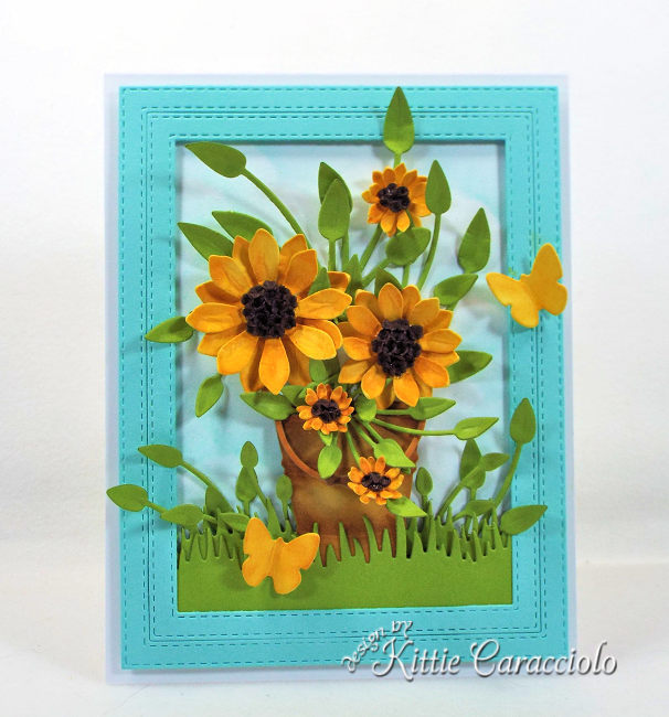 Come check out how I made this bright and die cut sunflowers card .