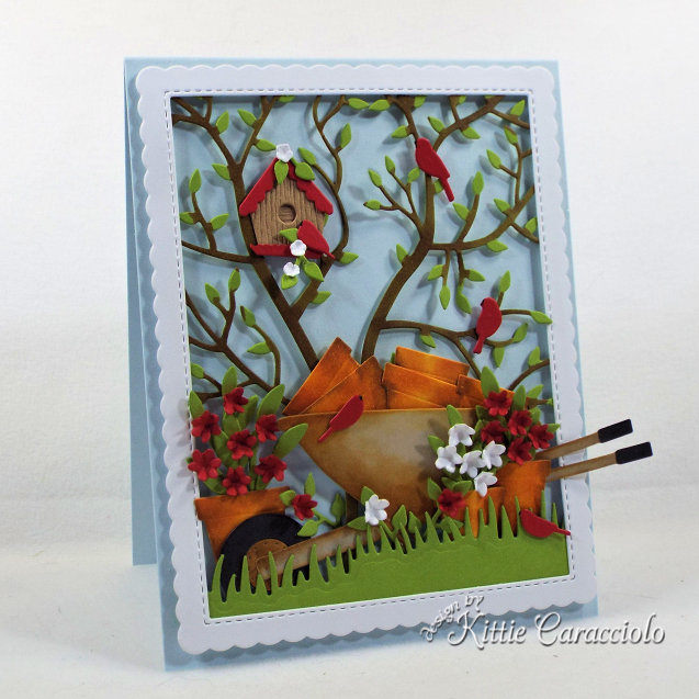 Come check out my handmade die cut garden scene card perfect for a gardener.