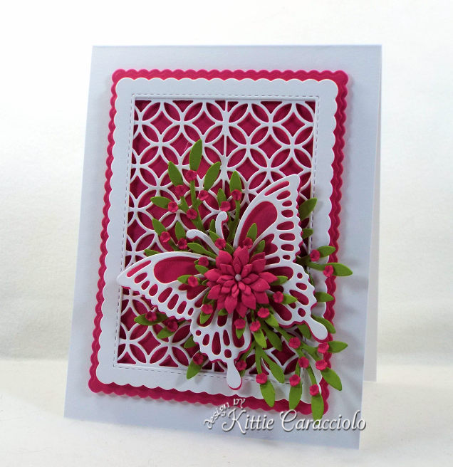 Come see how I made this elegant lattice and butterfly with flowers card.