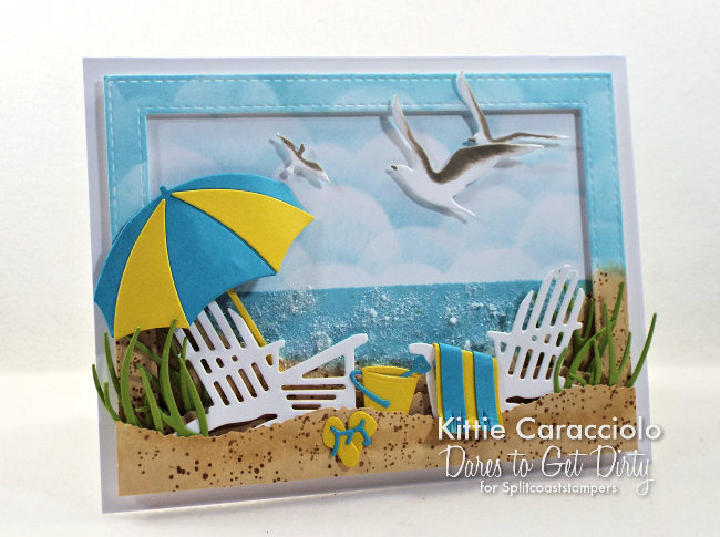Come see my sparkling and relaxing beach scene card with die cuts, embossing paste and glitter.
