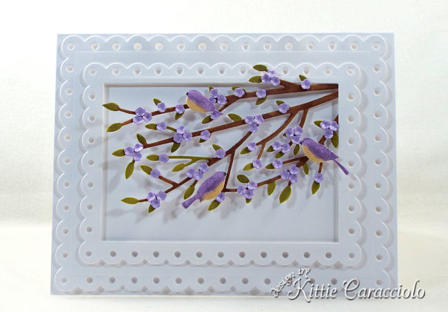 Come see how I made my pretty die cut birds and flower branches card.