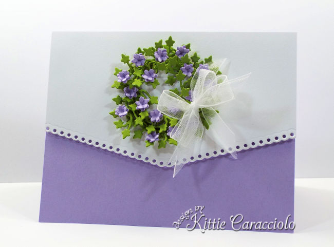 Come see how I made this elegant die cut paper flower pots and wreath card.