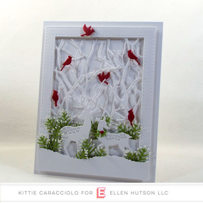Come see how I made this white on white die cut deer scene for the Ellen Hutson Holiday Trend.