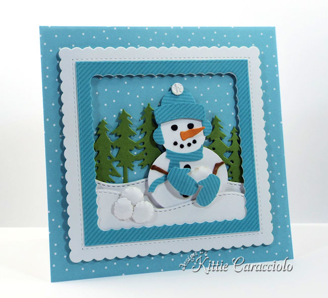 Come see how I made this cute snowman snowball fight scene using dies by Rubbernecker Stamps.