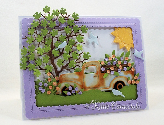 Come and see how I made this summer die cut truck and flower scene.