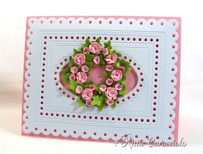 Come check out how I made this die cut framed floral wreath.