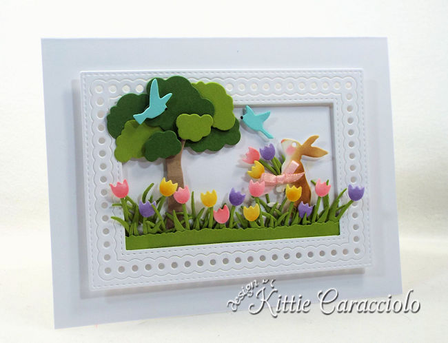Come see how I made this die cut spring bunny scene card.