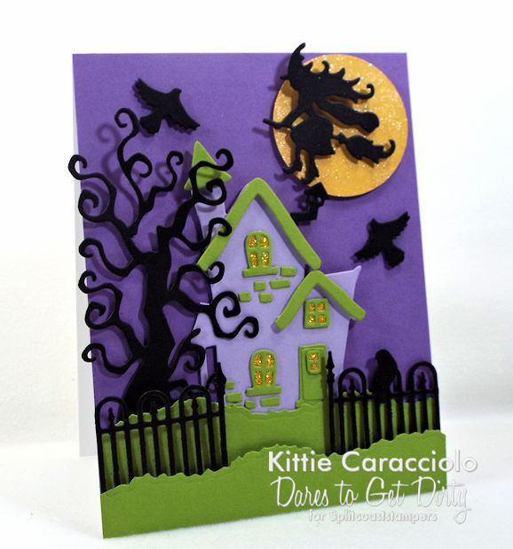 Come see how I made this colorful spooky house Halloween card.